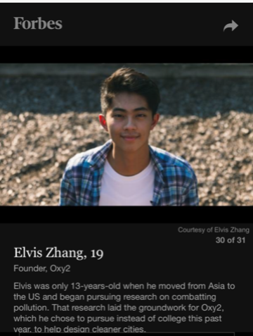 Elvis Zhang is the youngest listed on 2018 Forbes 30 under 30 Social